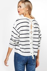 Boohoo Paige Nautical Stripe Jumper With Lace Up Back White