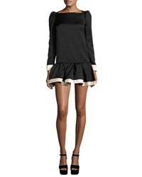 Marc Jacobs Bicolor Long Sleeve Drop Waist Dress Black