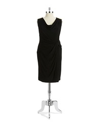 Anne Klein Plus Embellished Twist Front List Dress Black