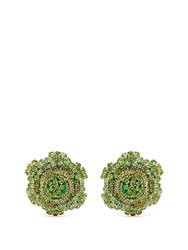 Rebecca De Ravenel Ava Crystal Embellished Rose Earrings Green
