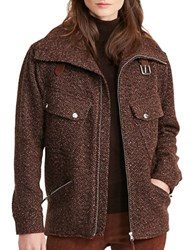 Lauren Ralph Lauren Wool Herringbone Jacket Brown Tan