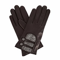 Gizelle Renee Catherine Black Leather Gloves With Black Speckle Wool