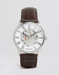 Sekonda Exposed Mechanical Skeleton Leather Watch In Brown Exclusive To Asos Brown