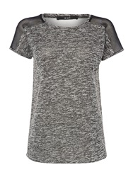 Oui T Shirt With Sheer Back Grey