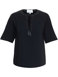 3.1 Phillip Lim Metal Eyelet Front Top Black