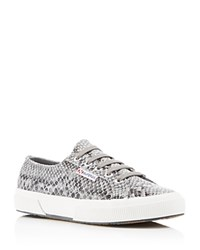 Superga Coated Snake Print Lace Up Sneakers Black Grey