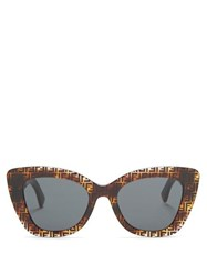Fendi Ff Acetate Cat Eye Sunglasses Brown Multi