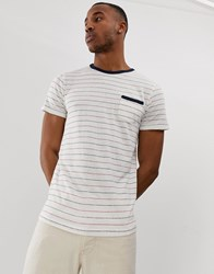 Selected Homme Stripe T Shirt With Pocket In Linen Mix Organic Cotton White