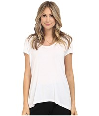 Heather Scoop Neck Tee White Women's Short Sleeve Pullover
