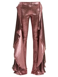 Paula Knorr Relief High Rise Ruffled Silk Blend Lame Trousers Pink