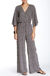 Vintage Havana Distressed Stripe Surplice Jumpsuit Blue