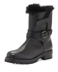 Sartore Fur Lined Leather Moto Boot Nero