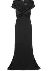Reem Acra Off The Shoulder Knotted Silk Crepe And Satin Gown Black