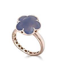 Pasquale Bruni 18K Rose Gold Floral Chalcedony Ring Rose Blue