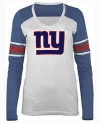 5Th And Ocean Women's New York Giants Back Block Long Sleeve T Shirt Red
