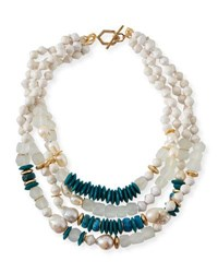 Akola Four Strand Pearly Bead Necklace 20 L Turquoise