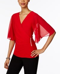 Msk Embellished Flutter Sleeve Blouse Red