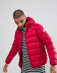 North Sails Hooded Down Puffer Jacket In Red Red 0242