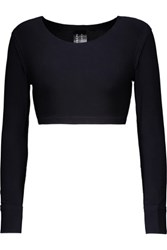 Norma Kamali Cropped Stretch Jersey Top Midnight Blue