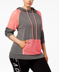Material Girl Active Plus Size Mesh Trim Hoodie Only At Macy's Charcoal Heather