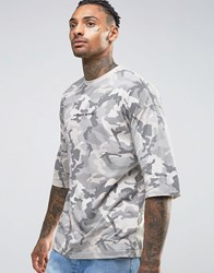 Criminal Damage Oversized Camo Tee With Dropped Shoulders Grey