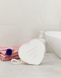 Monki Heart Shape Pouch In White With Pink Slogan