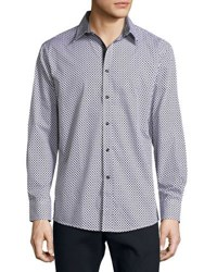 English Laundry Diamond Print Button Front Sport Shirt White