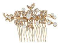 Nina Lagos Crystal Pearl Floral Comb Gold Crystal Hair Accessories