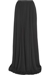 Jenny Packham Grosgrain Trimmed Silk Maxi Skirt Black
