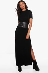 Boohoo Side Splits T Shirt Maxi Dress Black