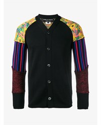 Comme Des Garcons Wool Jersey Cardigan With Decorated Sleeves Black Multi Coloured Purple Yellow Pink Green