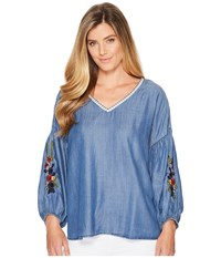 B Collection By Bobeau Frankie Embroidered Sleeve Medium Wash Blue Women's Long Sleeve Pullover