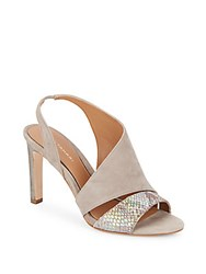 Elie Tahari Harper Suede And Iridescent Embossed Leather Asymmetrical Pumps Roccia Taupe
