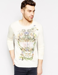 Antony Morato Knitted Jumper With Floral Skull Print Offwhite1004