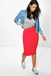 Boohoo Midi Jersey Tube Skirt Red