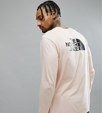 The North Face Easy Long Sleeve Top Back Logo Print Exclusive To Asos In Pink Evening Sand Pink