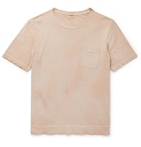Massimo Alba Slim Fit Watercolour Dyed Cotton Jersey T Shirt Neutrals