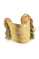 Gas Bijoux Wave 24K Gold Plated Cuff With Glass Rocailles