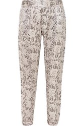Atm Anthony Thomas Melillo Snake Print Silk Charmeuse Track Pants Gray