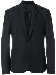 Les Hommes Stitched Shoulder Blazer Polyester Viscose Black