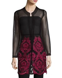 Neiman Marcus Embroidered Mesh Open Jacket Black