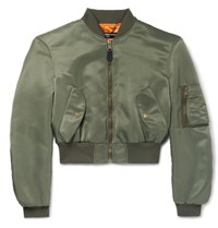 Balenciaga Cropped Shell Bomber Jacket Green