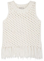 M.Patmos Tulum Fringed Open Knit Top White