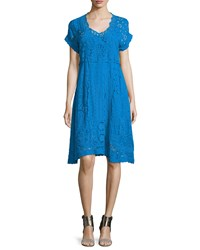Johnny Was Short Sleeve Midi Eyelet Dress Women's Cobalt