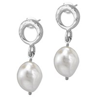 Dower And Hall Open Circle Pearl Drop Earrings Silver White