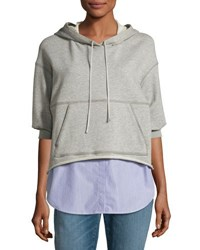 3.1 Phillip Lim French Terry And Striped Poplin Hooded Sweatshirt Gray