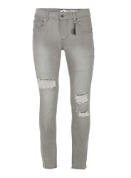 Topman Always Rare Grey Ripped Super Skinny Jeans