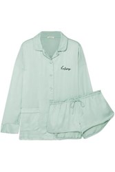 Love Stories Embroidered Satin Pajama Set Green