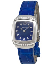 Damiani Diamond Alligator Strap Watch Blue