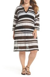 Muche Et Muchette Plus Size V Neck Cover Up Tunic Black And White